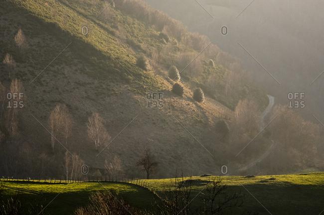 Valley surrounding Xinestosu village in Asturias, Spain