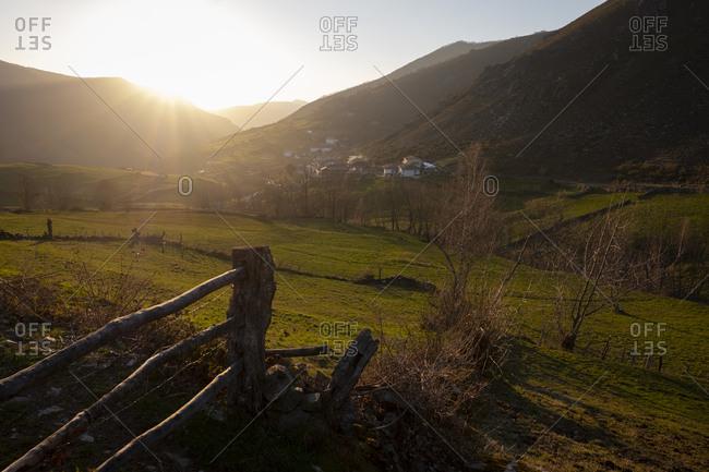 Sunset over rural village of Xinestosu in Asturias, Spain