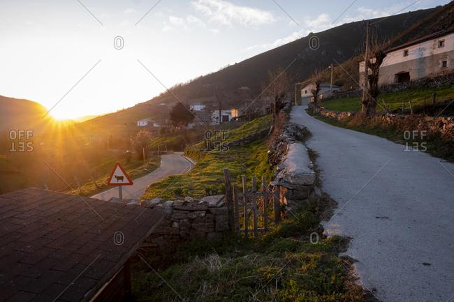 Xinestosu village at sunset, Asturias, Spain