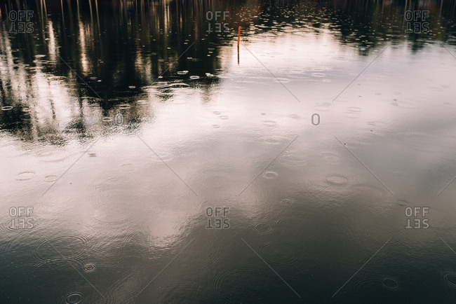 Raindrops rippling in a lake as they hit the water