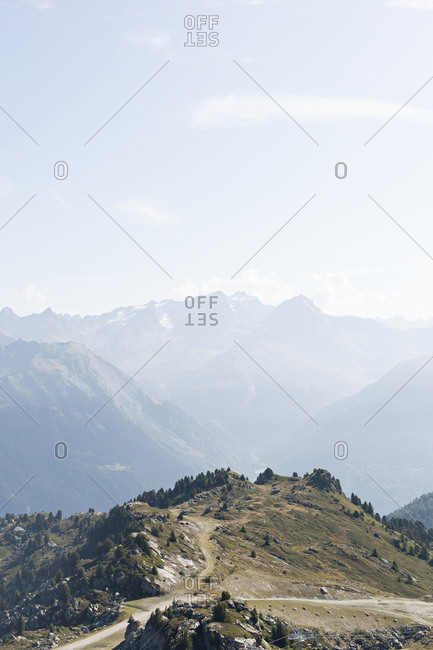 View of mountain tops in the French Alps