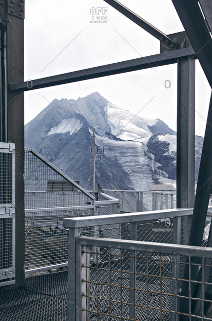 Mountain viewed from steel construction on Aiguille Rouge, France