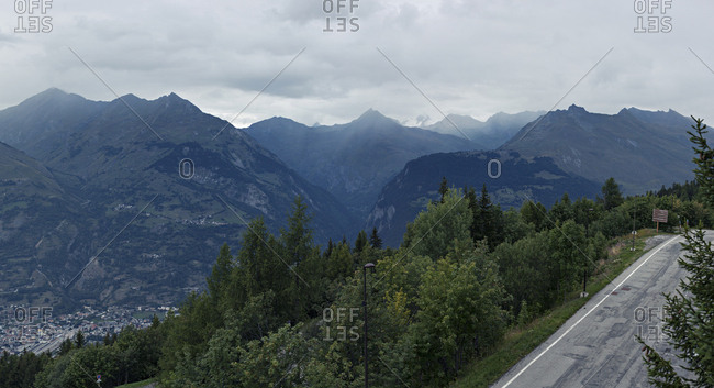 French Alps landscape with road