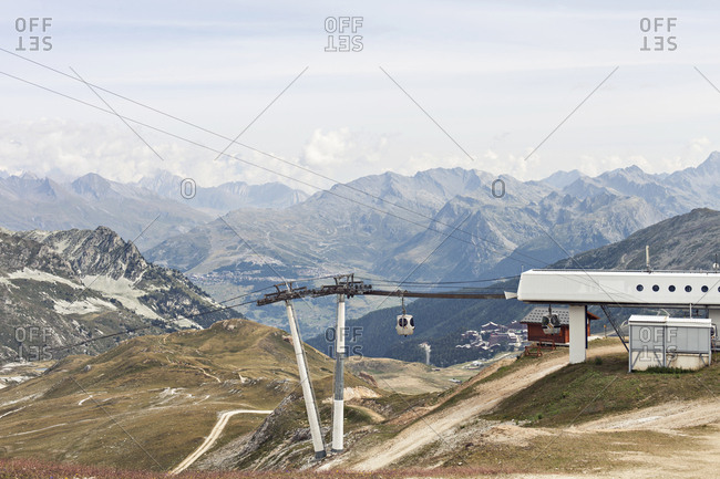 Paradiski, Tarentaise Valley, France - August 27, 2019: Transarc Cable car station in the French Alps