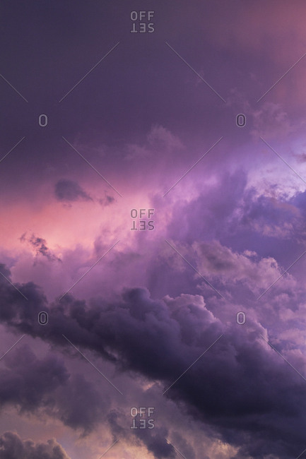 Purple dramatic clouds before rainstorm