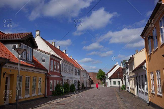 Odense, Denmark - October 4, 2019: The street where Hans Christian Andersen was born