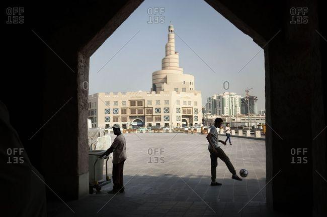 Doha, Qatar - November 17, 2016: The entrance of the SUQ of Doha, the market of the city Qatar