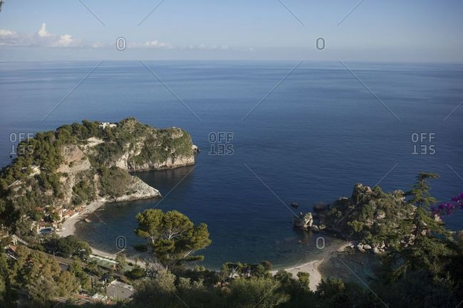 Aerial view of beach on the coast of Sicily, Italy