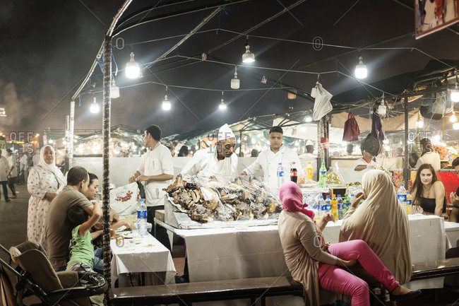Marrakech, Morocco, Africa - August 4, 2019: The food market of Jemaa el-Fnaa in Marrakech at night