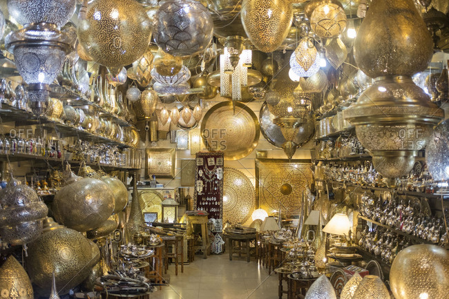 Marrakech, Morocco, Africa - August 4, 2019: A store of Moroccan lamps in Marrakech