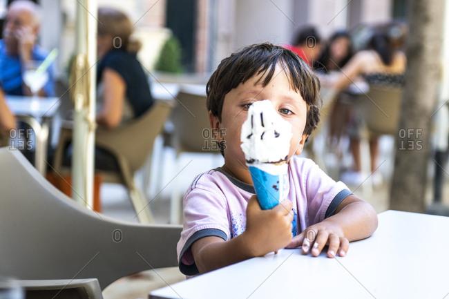 Boy enjoying his ice cream cone