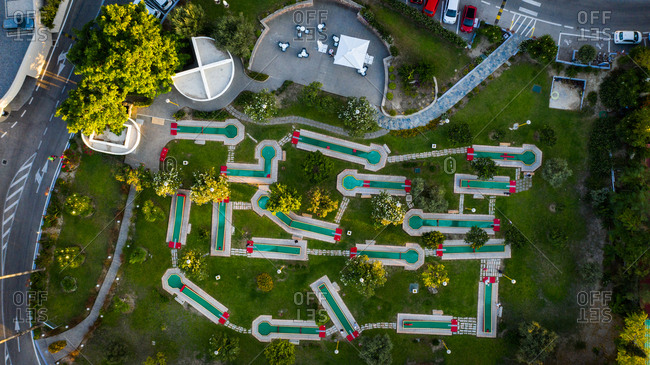 Drone view of a miniature gold course, Rhodes, Greece