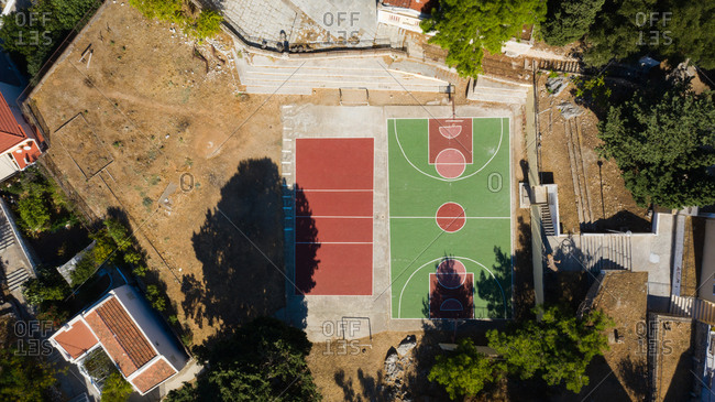 Rhodes, Greece - October 1, 2019: Drone view of a sports court