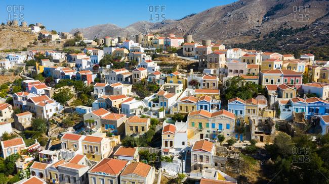 Bird's eye view over homes in Rhodes, Greece