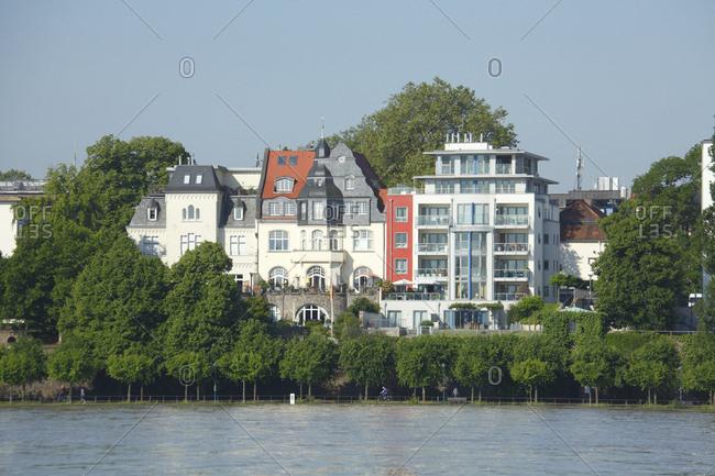 Old and modern houses, Rheinufer, Rhine, Bonn, North Rhine-Westphalia, Germany, Europe