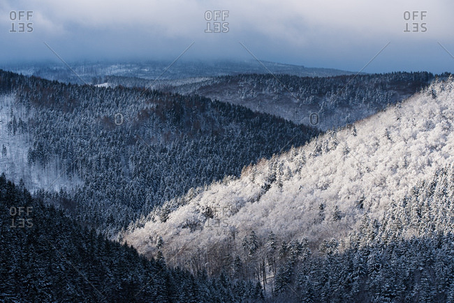 View over the Harz in winter, Ilsenburg, Germany