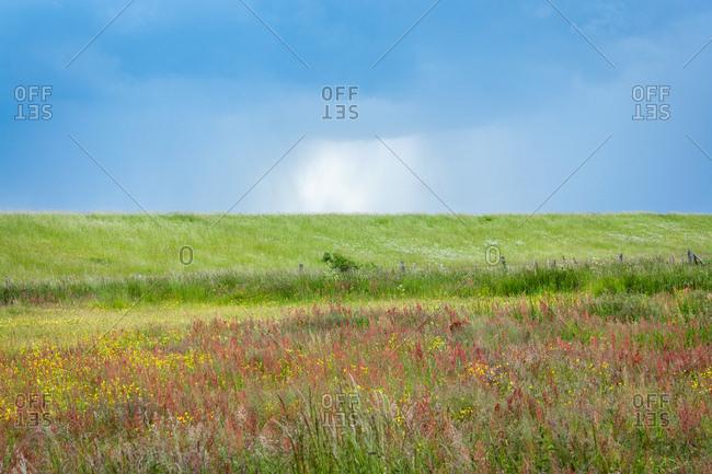 Eine groe Wolke die ber der Landschaft abregnet,