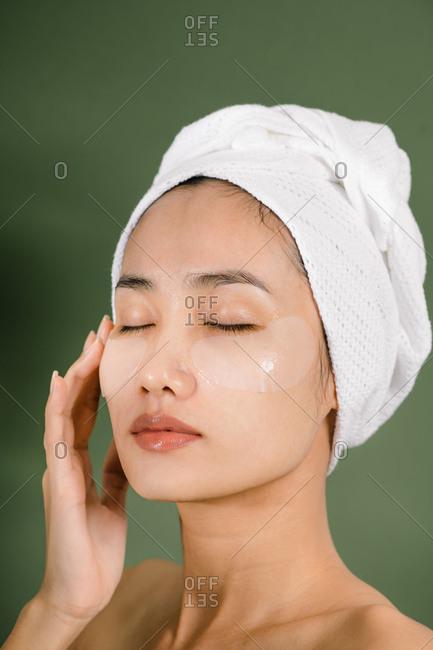 Beautiful woman uses eye masks