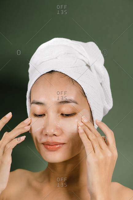 Beauty portrait of relax Asian woman wearing eye masks