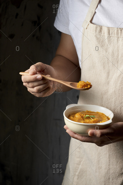 Freshly made pumpkin soup served in a bowl