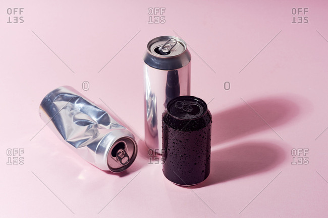Aluminum beer can on pink background