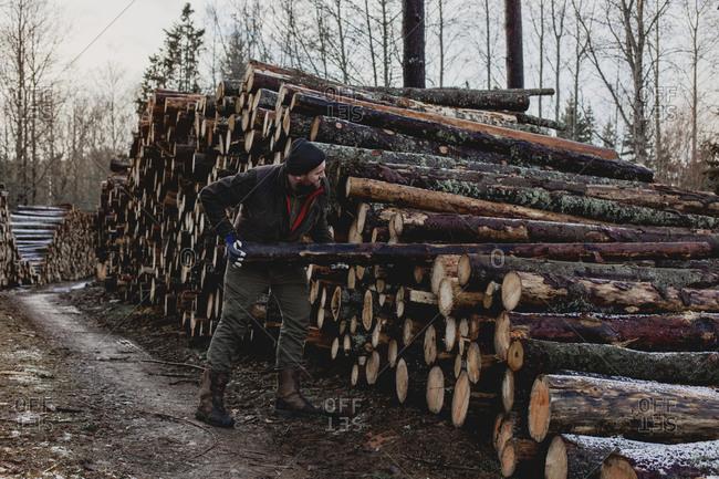 Man stacking logs