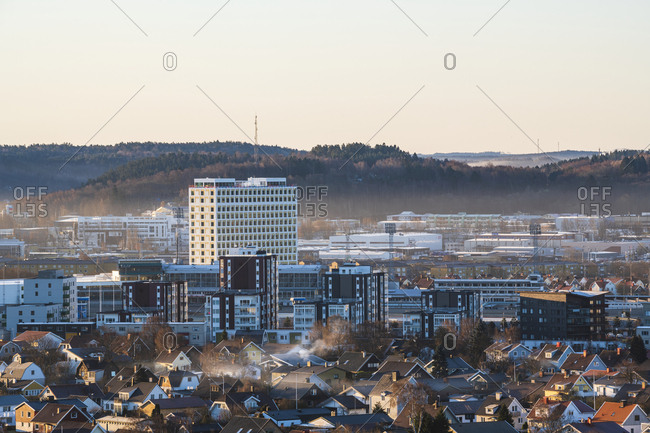 copenhagen - April 1, 2019: Cityscape at sunset