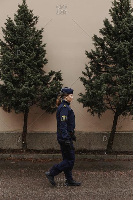 Police woman walking