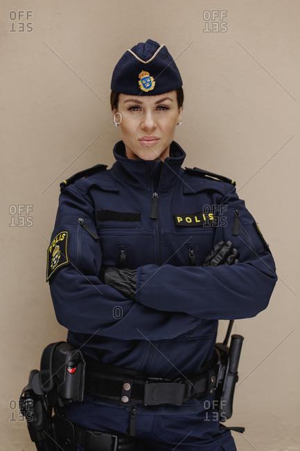 Police woman looking at camera