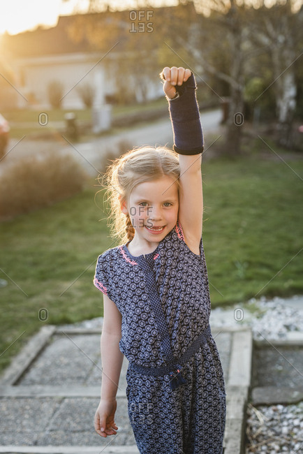 Girl with plastered arm