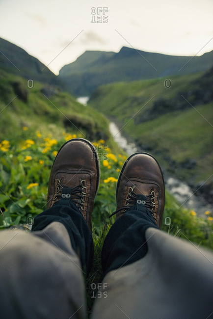 Person wearing hiking boots