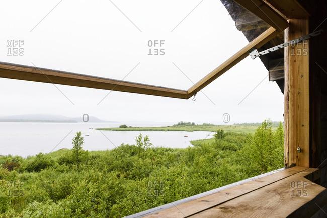 Lake seen through window