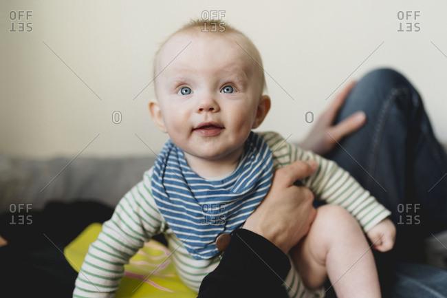 Smiling baby enjoying childhood