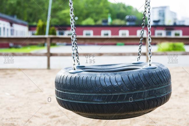 Tire swing on a tree