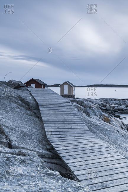 Boardwalk on rocky coast