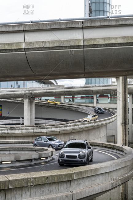 Cars on elevated road