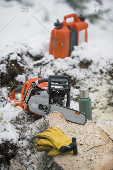 Shot of a chainsaw on the ground