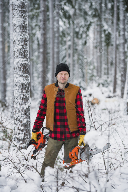 Lumberjack in forest - Offset Collection