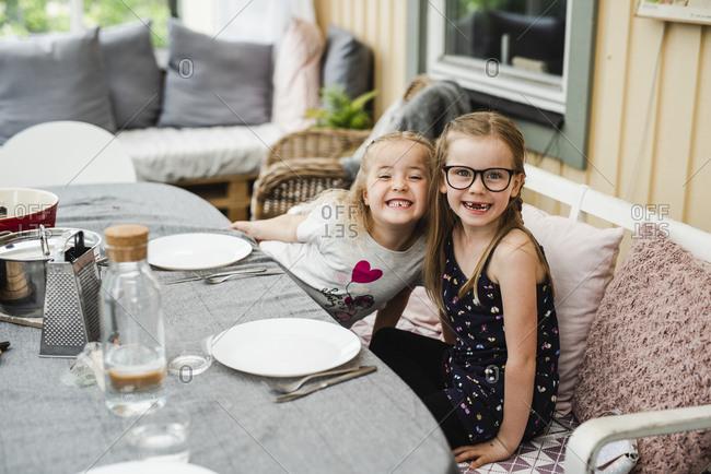 Girls having meal outside