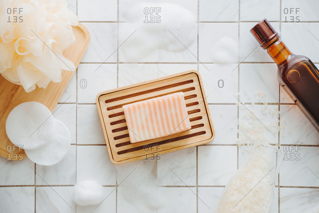 Spa and wellness products flat lay