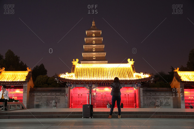 September 23, 2019 China: Shaanxi xi 'an wild goose pagoda at night