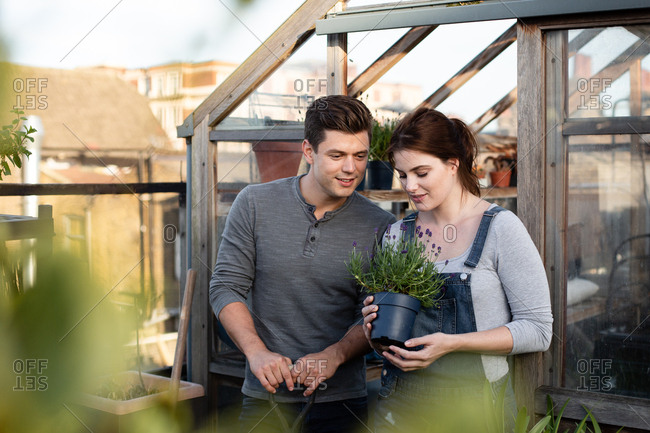 Young adult couple gardening together