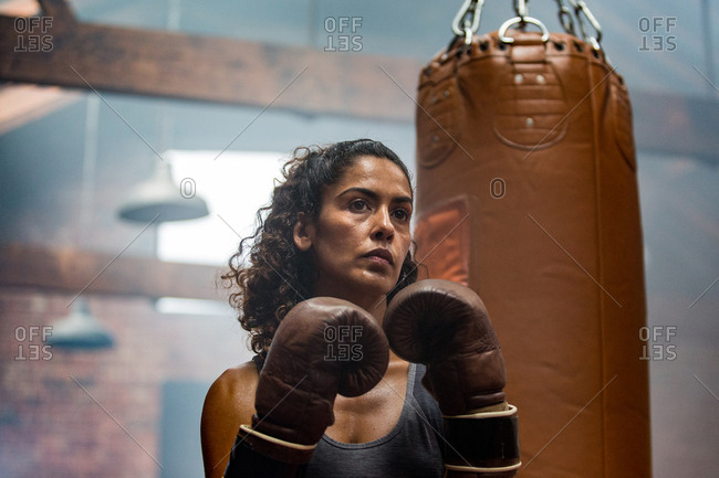 Female boxer preparing for a fight