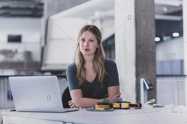 Portrait of female robotic engineer