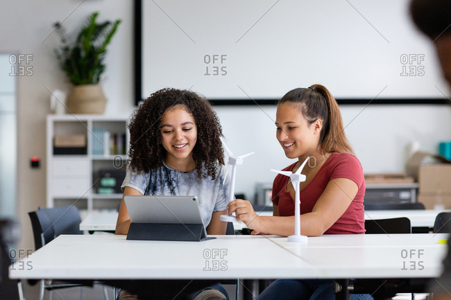 High school students studying renewable energy