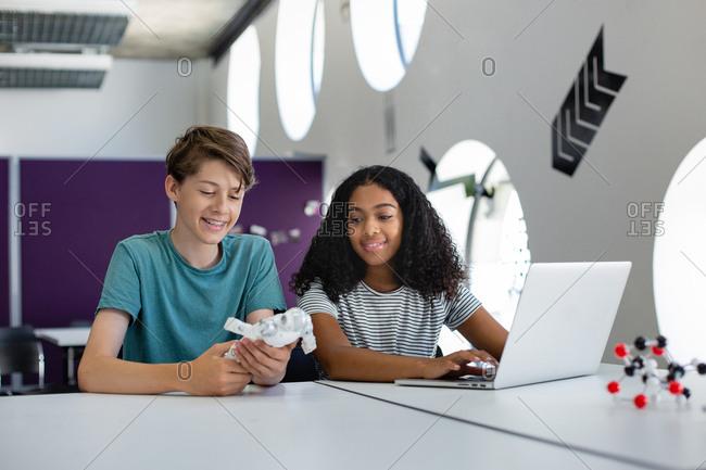 High school students in a STEM class