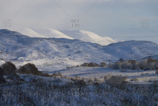 Snowy mountainous scene in the Scottish Highlands of Sutherland