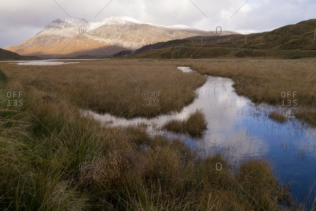 Landscape with the peak of Foinaven Sutherland Scotland UK