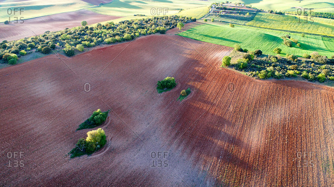 aerial photographs taken with drone on a cereal field in Junquera de Henares. Guadalajara Spain