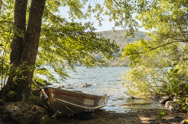 Views of the beautiful and popular lake of Sanabria during the summer